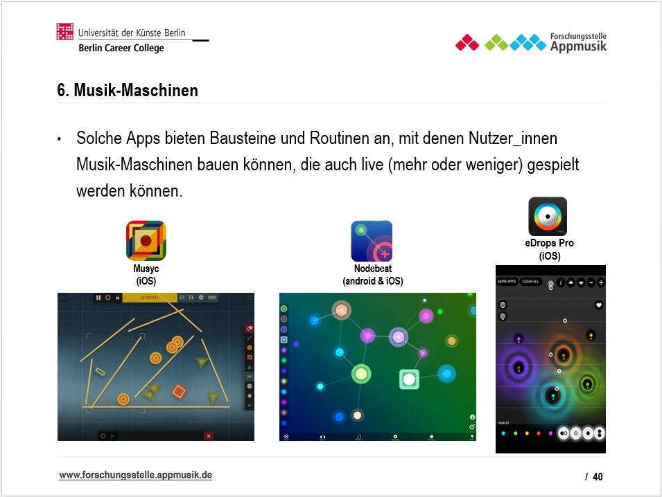 Solche Apps bieten Bausteine und Routinen an, mit denen Nutzer_innen Musik-Maschinen bauen können, die auch live (mehr oder weniger) gespielt werden können.