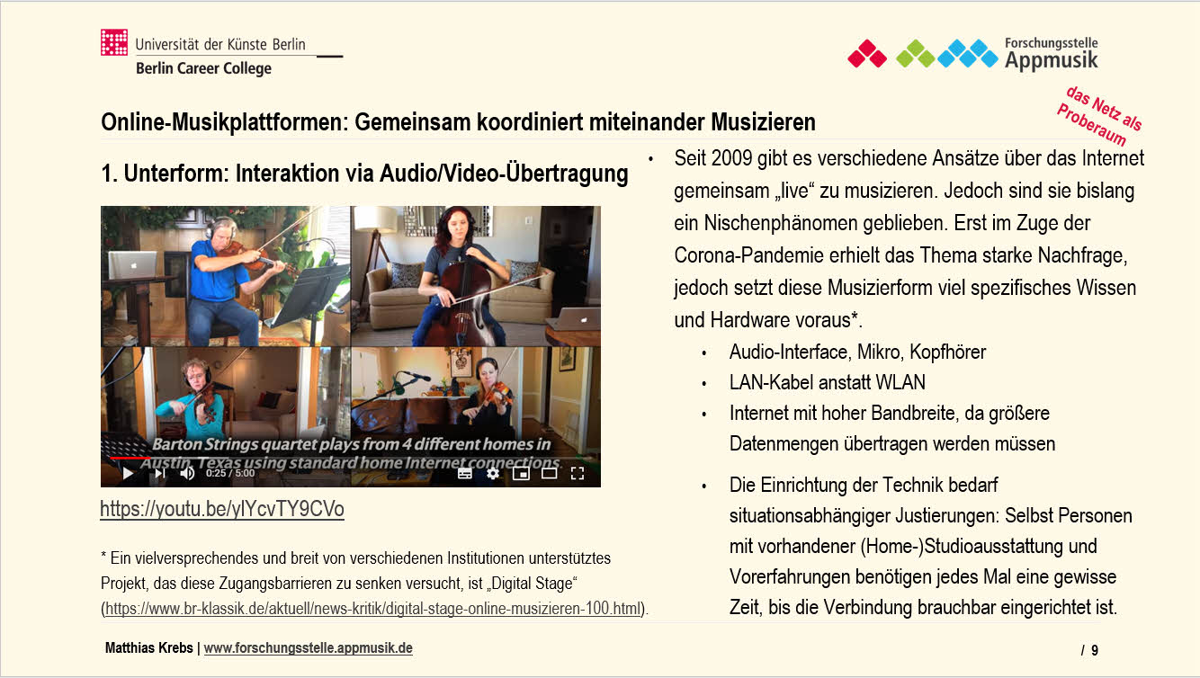 Online-Musikplattformen_Musizieren Interaktion via AudioVideo-Übertragung